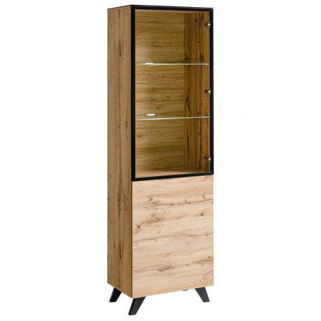 Thin oak narrow display cabinet with lights