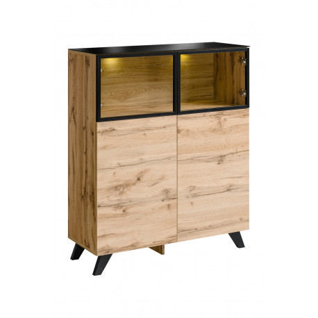 Thin oak display cabinet with lights