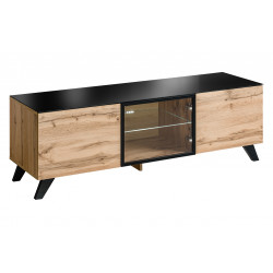 Thin oak TV cabinet with lights