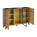 Thin oak sideboard with lights