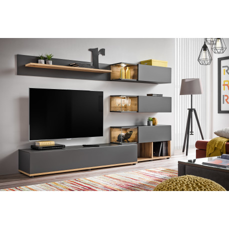 Sino wooden and grey wall unit