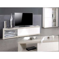 Arto white and grey gloss TV unit with LED lights