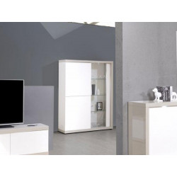 Arto white and grey gloss display cabinet with LED lights