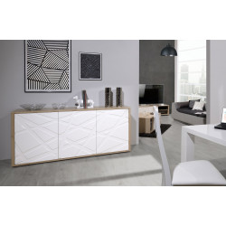 Grapho I sideboard with wood body and ivory fronts