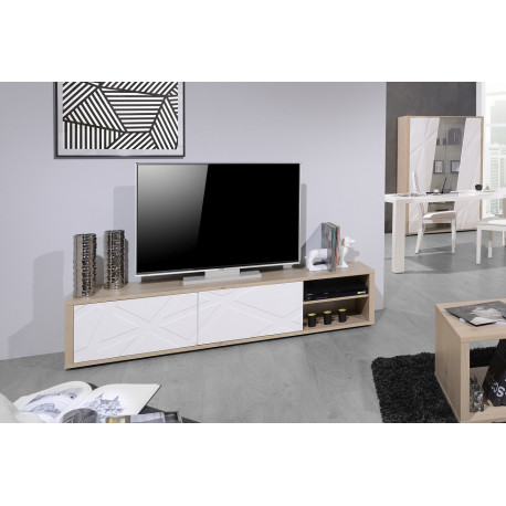 Grapho TV unit with wood body and ivory fronts