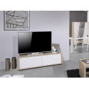 Grapho 136cm TV unit with wood body and ivory fronts