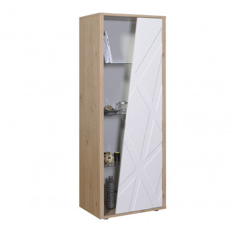Grapho narrow display cabinet with wood body and ivory fronts