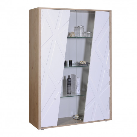 Grapho wide display cabinet with wood body and ivory fronts