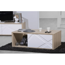 Grapho coffee table with wood body and ivory fronts