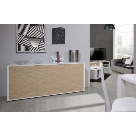 Grapho II sideboard with ivory body and wood fronts