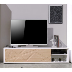 Grapho II TV unit with ivory body and wood fronts
