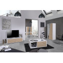 Grapho II 136cm TV unit with ivory body and wood fronts