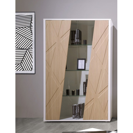 Grapho II wide display cabinet with ivory body and wood fronts