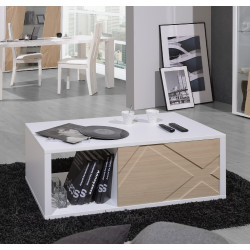 Grapho coffee table with ivory body and wood fronts