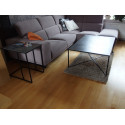 Loft sofa side table with natural oak