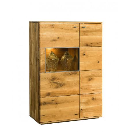 Dallas III assembled solid wood display sideboard in various wood option