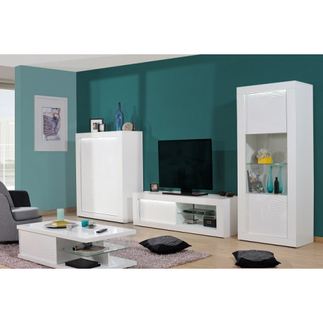 Samba II white gloss wall composition with led lights