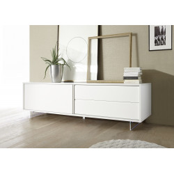 Armadio II 206cm white matt lacquered TV lowboard with drawer