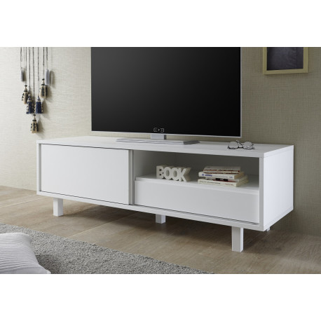 Armadio 156cm lacquered TV unit with glass legs and LED