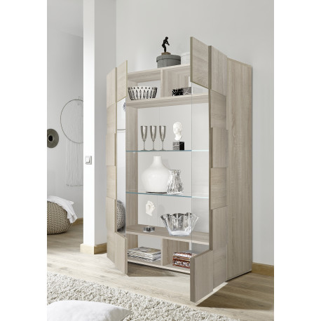Diana two door sonoma oak display cabinet with LED lights