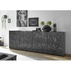 Prisma II 241 cm grey gloss decorative sideboard