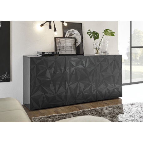 Prisma II 181 cm grey gloss decorative sideboard
