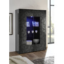 Prisma two door grey gloss decorative display cabinet