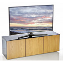 Ferro II intelligent TV Unit with wireless phone charger in black and oak finish