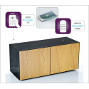 Ferro intelligent TV Unit with wireless phone charger in black and oak finish