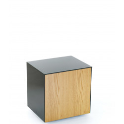 Ferro lamp table with wireless phone charger in black and oak