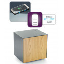 Ferro lamp table with wireless phone charger in grey and oak