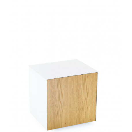 Ferro lamp table with wireless phone charger in white and oak