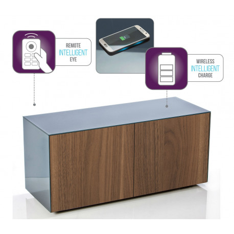 Ferro intelligent TV Unit with wireless phone charger in grey and walnut