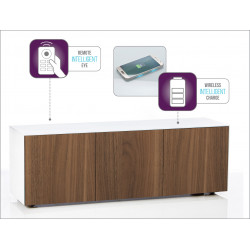 Ferro II intelligent TV Unit with wireless phone charger in white and walnut