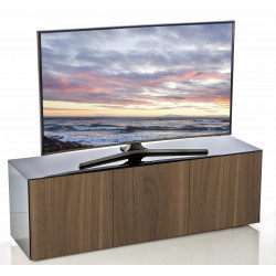 Ferro II intelligent TV Unit with wireless phone charger in black and walnut