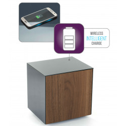 Ferro lamp table with wireless phone charger in grey and walnut