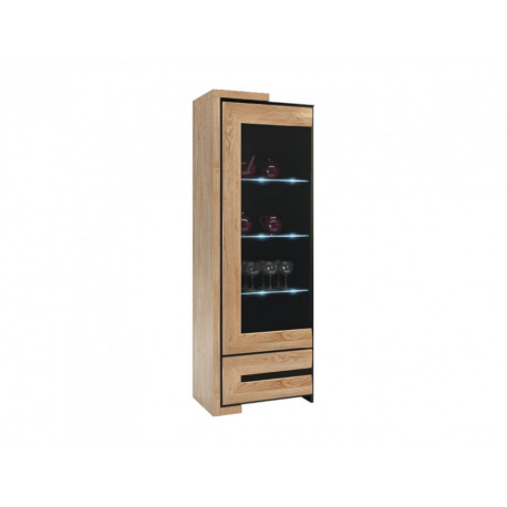 Corino assembled narrow solid wood display cabinet