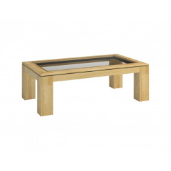 Rossano oak coffee table with glass top