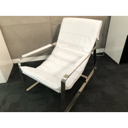 Caprice white leather armchair ex-display