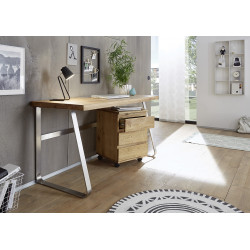 Lukas office desk in solid oak finish with steel legs