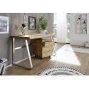Lukas office desk in solid oak finish with steel legs