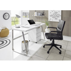 Lukas II office desk in matt white lacquer with steel legs