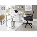 Lukas II office desk in matt white lacquer with steel legs