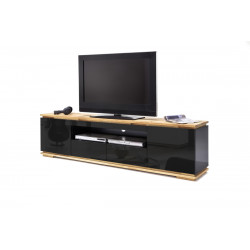 Chiaro large TV stand in natural oak and black gloss