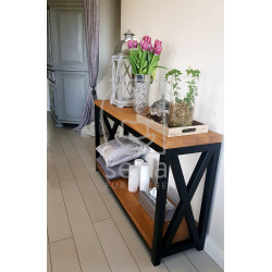 Joanne console table in lacquered steel frame with oak top
