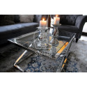 Joanne II Coffee Table in Polished Stainless Steel with glass top