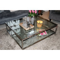 Joanne III coffee table in polished stainless steel with glass top