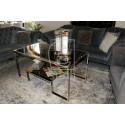 Joanne IV coffee table in polished stainless steel with glass top