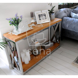 Joanne console table with polished steel frame and oak top