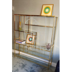 Joanne II display cabinet in Stainless Steel with glass shelves